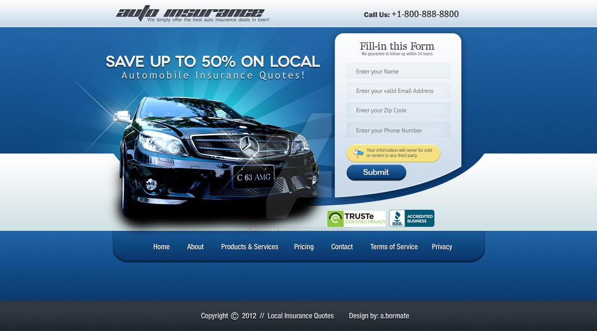 Web Design: Car Insurance Sales Page by polarbear0743 on DeviantArt
