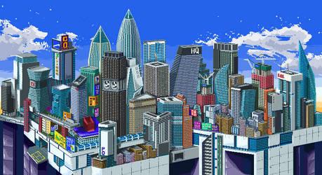 Skyline City ( Pixel Art ) by Ct1999