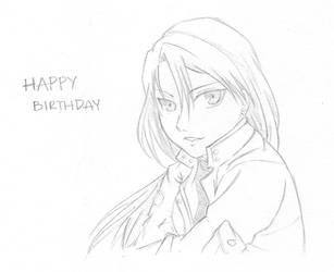 Riza Hawkeye Birthday Card by dreams-and-starlight