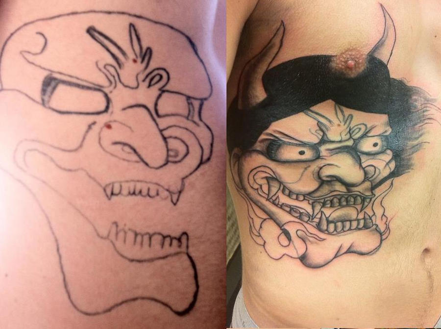 Big hannya mask cover up tattoo by sunnyshiba on deviantart for Big tattoo cover up