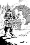 Clockwork cuirassier and a troll by TuomasMyllyla