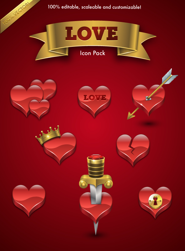 Love Icon Set by MelissaReneePohl