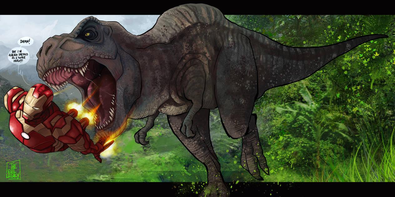 deviantart mashup - Iron man vs. T-Rex by the-evil-legacy