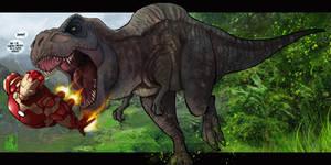 deviantart mashup - Iron man vs. T-Rex