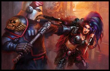 Arbites and Hive Ganger-Warhammer 40K:Dark Heresy by jubjubjedi