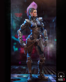 Futurepunk Female Gunfighter - 3D Game Resolution