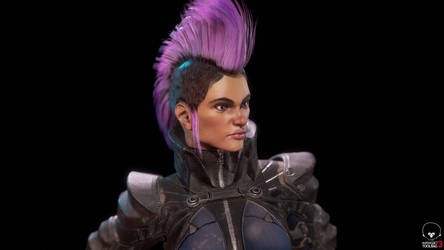 Futurepunk Female Gunfighter - Close Up Portrait