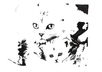 Cat and kitten by Itti