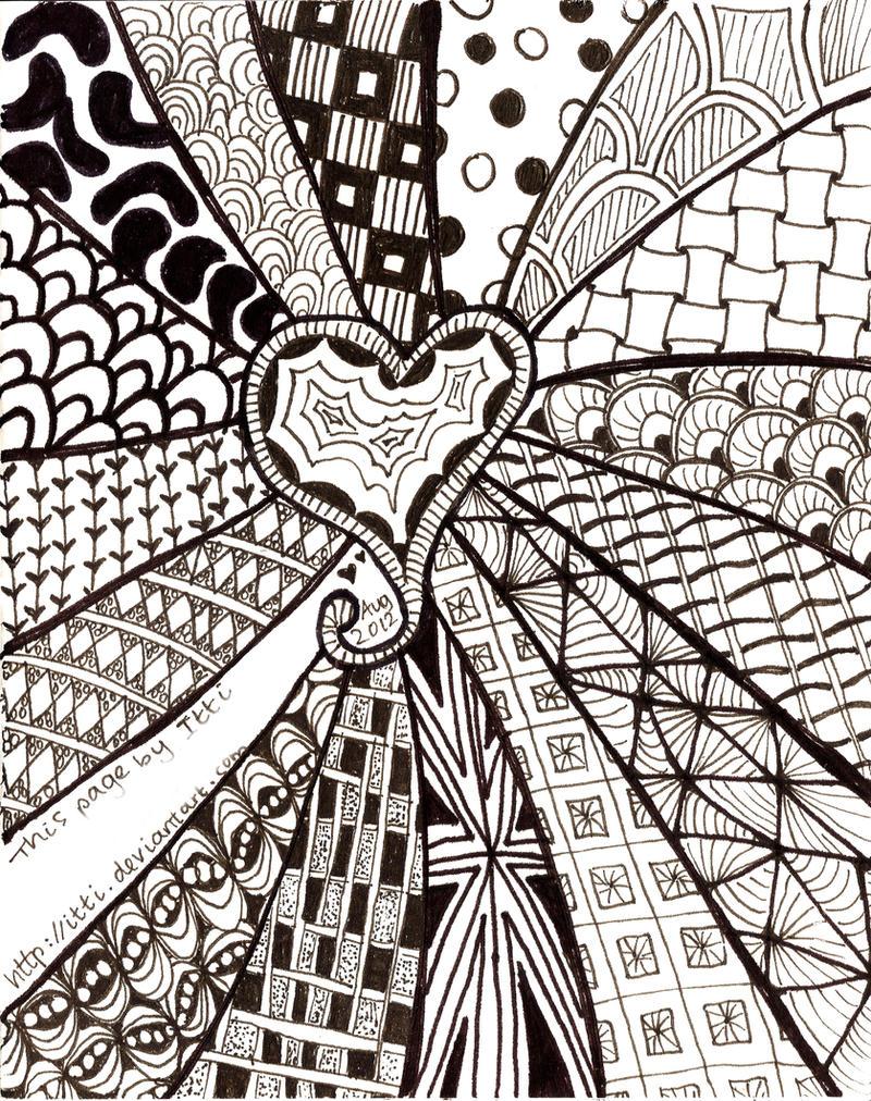 Line Art Zendoodle : Zentangle heart by itti on deviantart