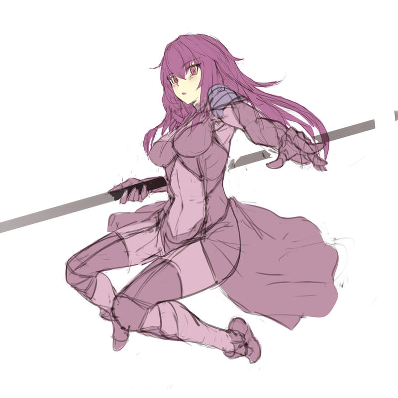 Fate Scathach sketch by toxicguest