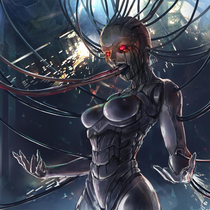 STI card art  X'hrala Cyber-Djinn concept3 by toxicguest