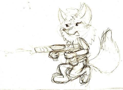 Fox with watergun. Concept art