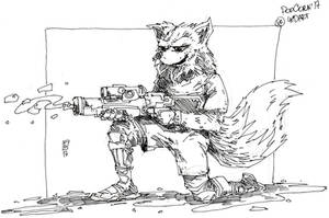 Fox with watergun
