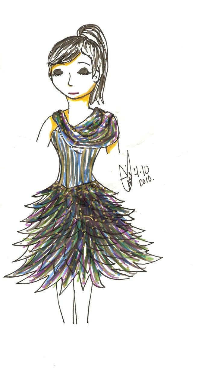 Peacock Flounce :Dress Design: by TaIKARUNAI-907782