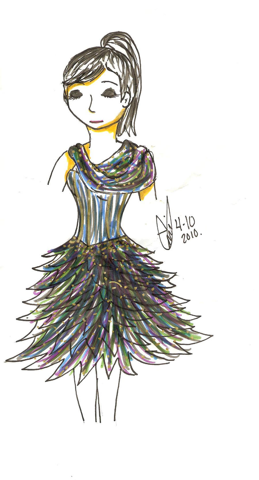 Peacock Flounce :Dress Design: by TaIKARUNAI-907782