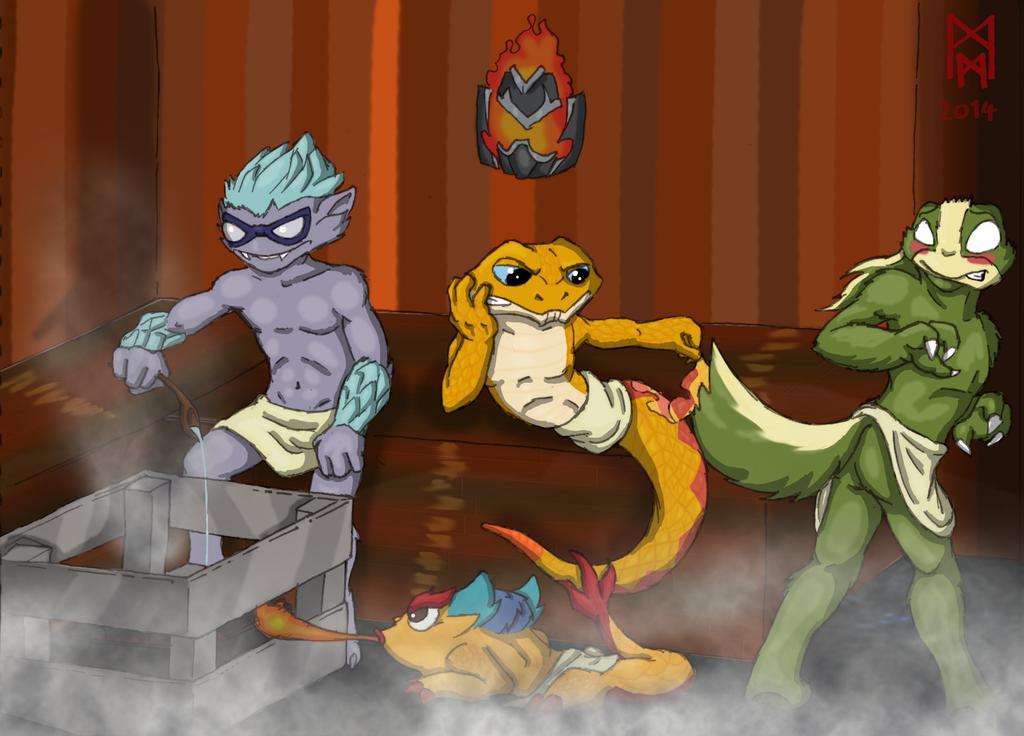 Skylanders at the Sauna by MorbiusMonster