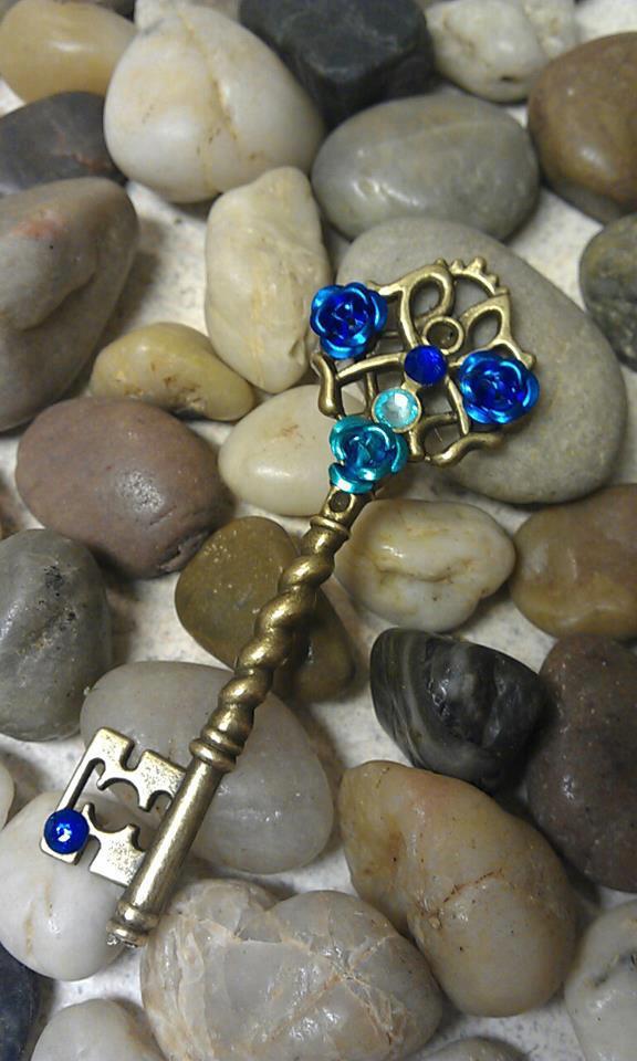 Sapphire Rose Fantasy Key Pendant by ArtByStarlaMoore