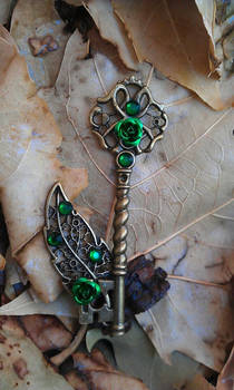 Emerald Forest Fantasy Key Pendant
