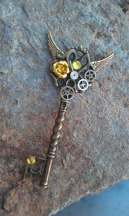 Golden Wings Fantasy Key Pendant by ArtByStarlaMoore