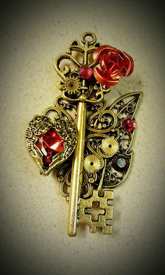 Gold and Ruby Fantasy Key by ArtByStarlaMoore