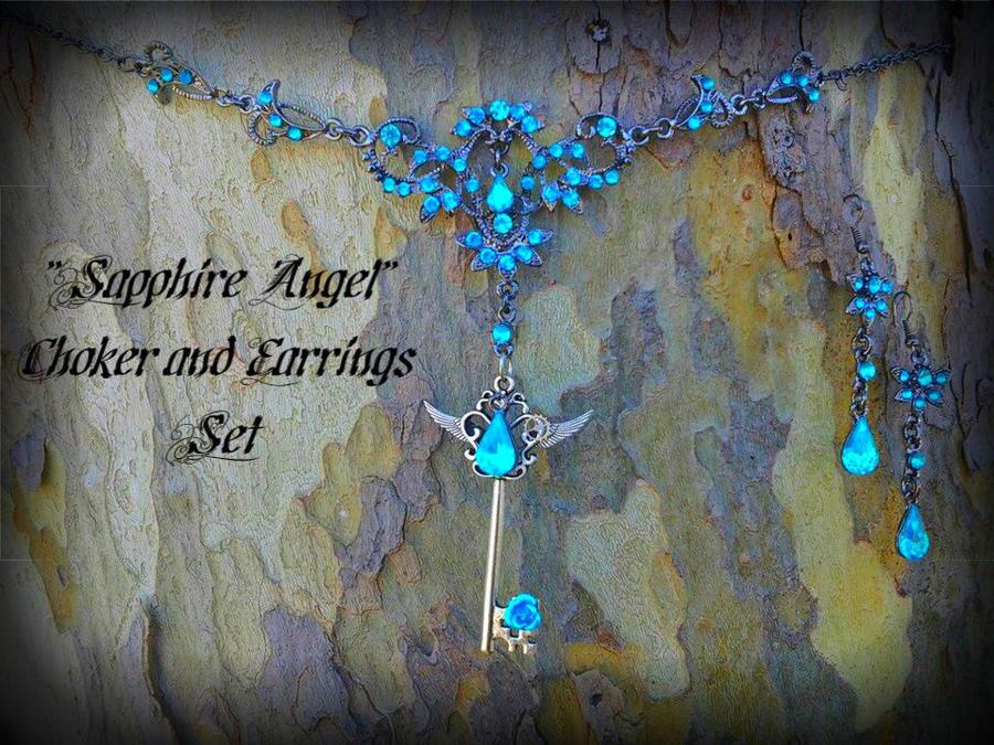 Sapphire Angel Choker set by ArtByStarlaMoore