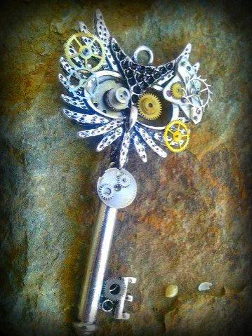 Steampunk Owl Fantasy Key by ArtByStarlaMoore