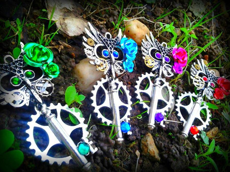 Rainbow Owl Fantasy Keys by ArtByStarlaMoore