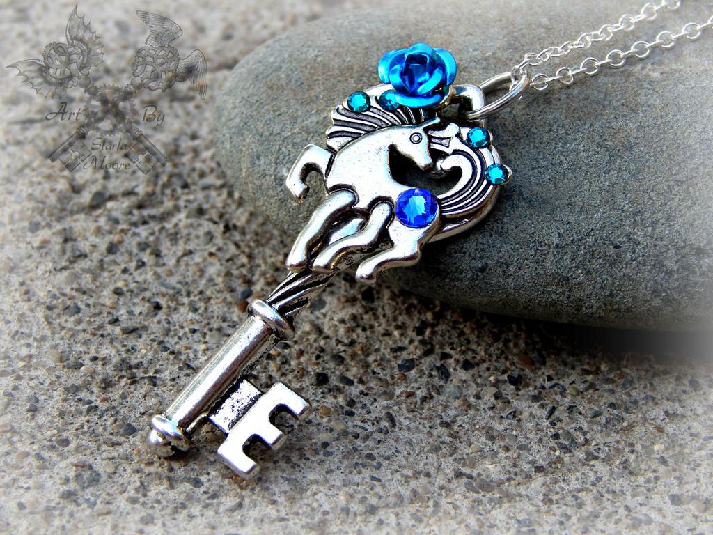 Blue Crystal Pony Key Necklace by ArtByStarlaMoore