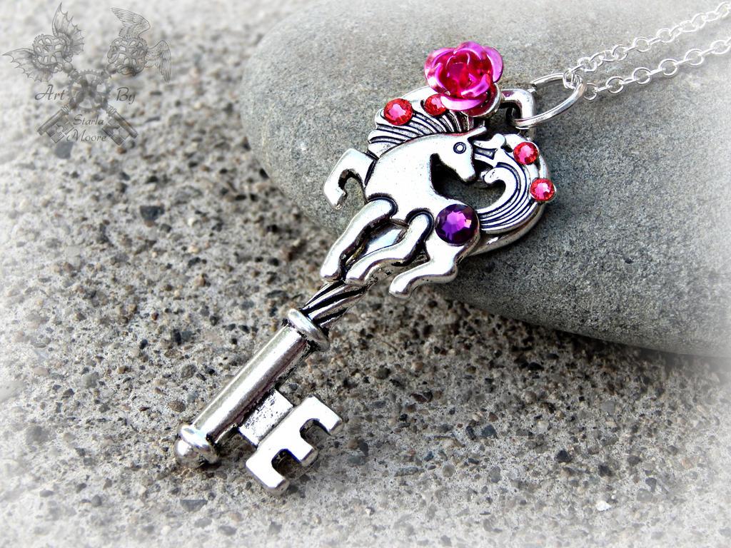 Pink Crystal Pony Key Necklace by ArtByStarlaMoore