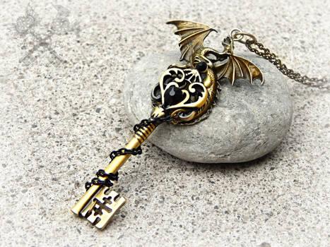 Obsidian Dragon Key Necklace