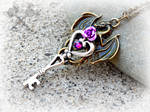 Bronze and Amethyst Crystal Dragon Key Necklace