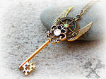 Golden Crystal Compass Key Necklace