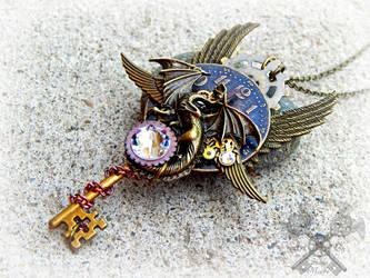 Midnight Watcher- Steampunk Dragon Key Necklace by ArtByStarlaMoore