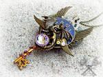 Midnight Watcher- Steampunk Dragon Key Necklace