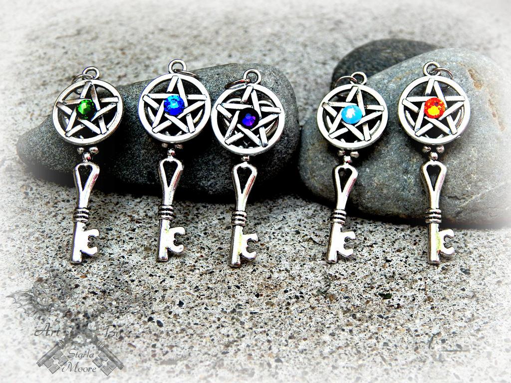 Rainbow Pentacle Key Pendants by ArtByStarlaMoore