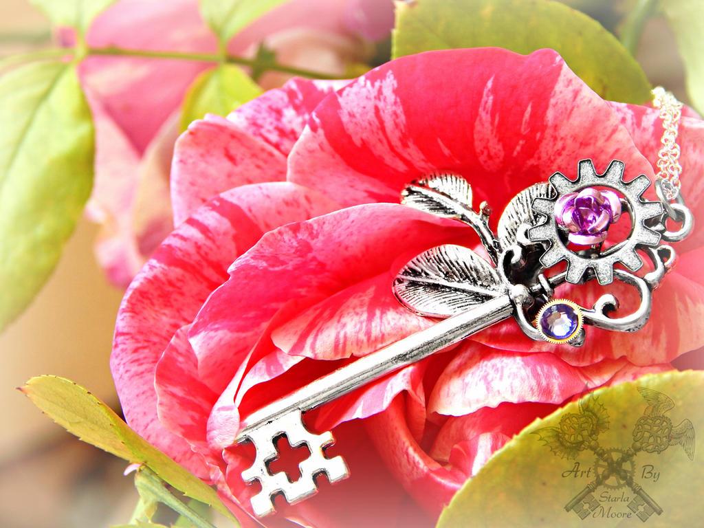 Beautiful Earthquake Tendril Key Necklace by ArtByStarlaMoore