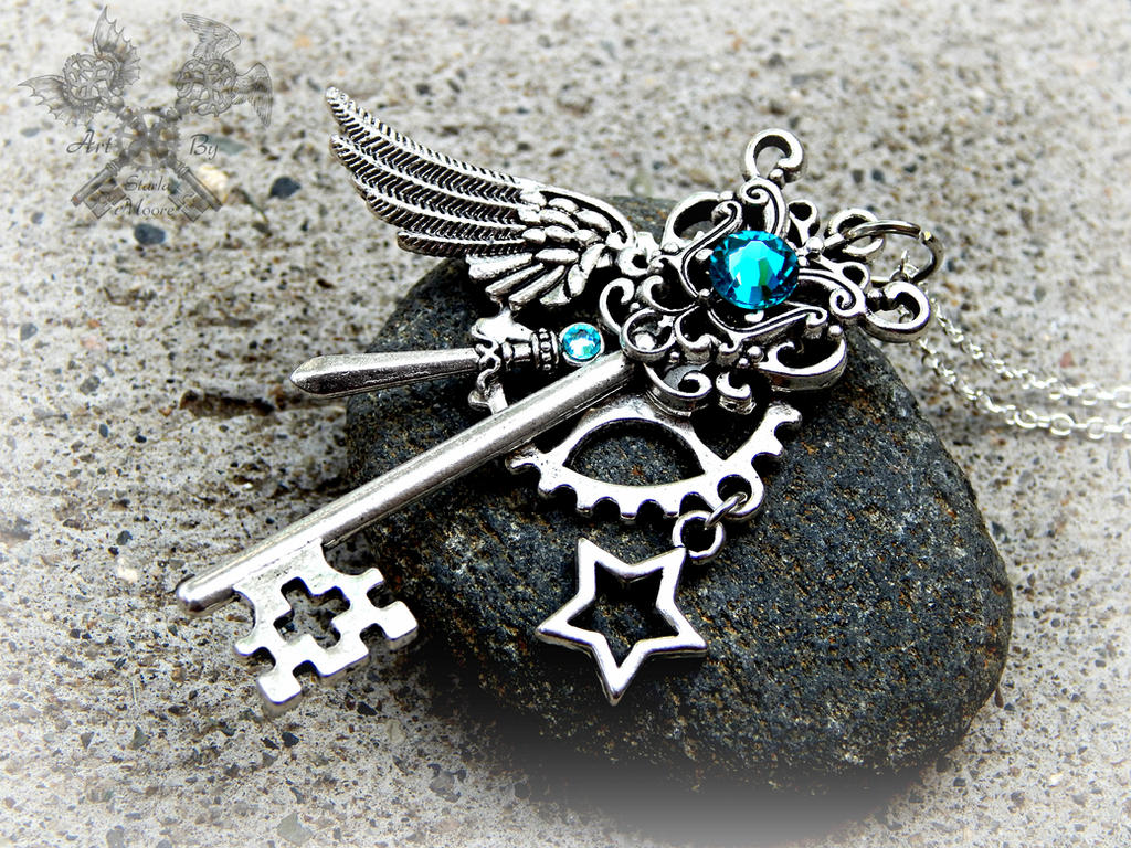 Warrior of the Clouds- Key Necklace by ArtByStarlaMoore