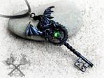 Black Acid Dragon Key Necklace