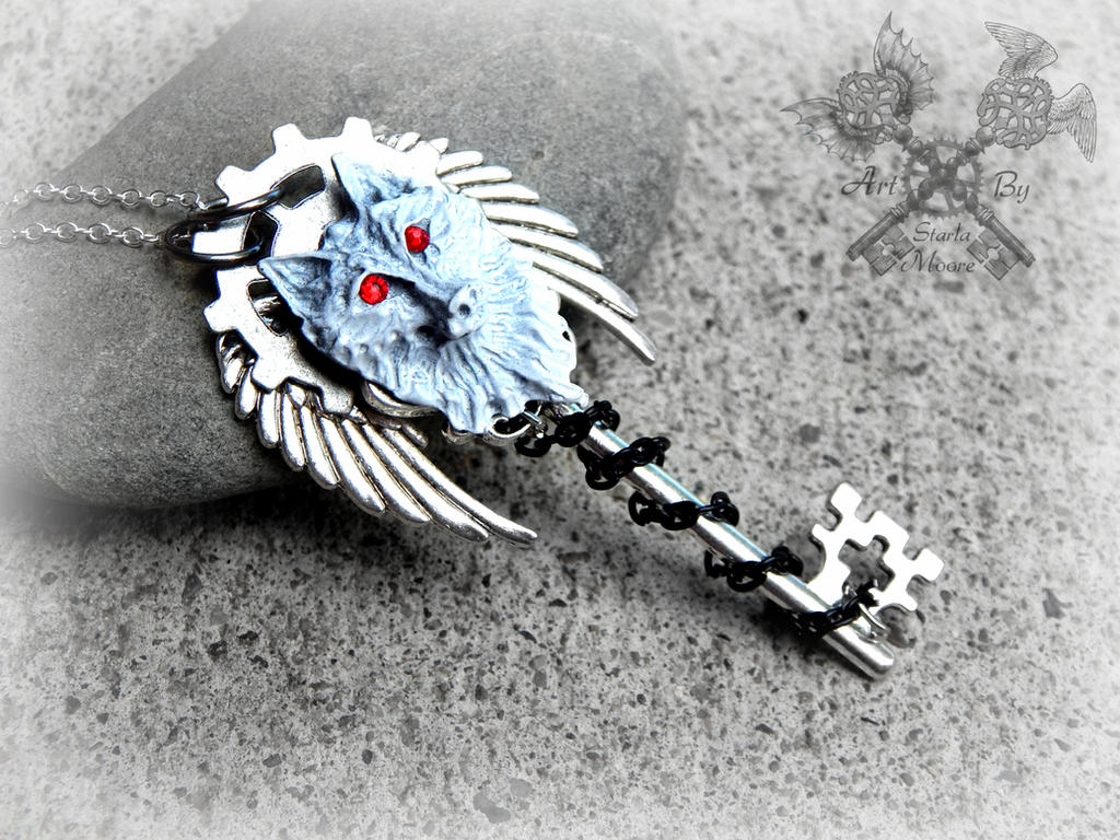 Ghost the Dire Wolf- Key Necklace by ArtByStarlaMoore