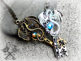 Crystal Dragons Couple's Key Necklace Set