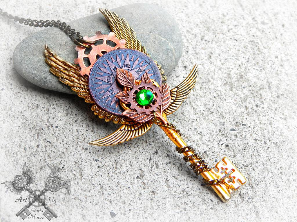 Steampunk Forest Key Necklace by ArtByStarlaMoore