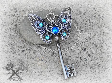 Sapphire Butterfly Key Necklace