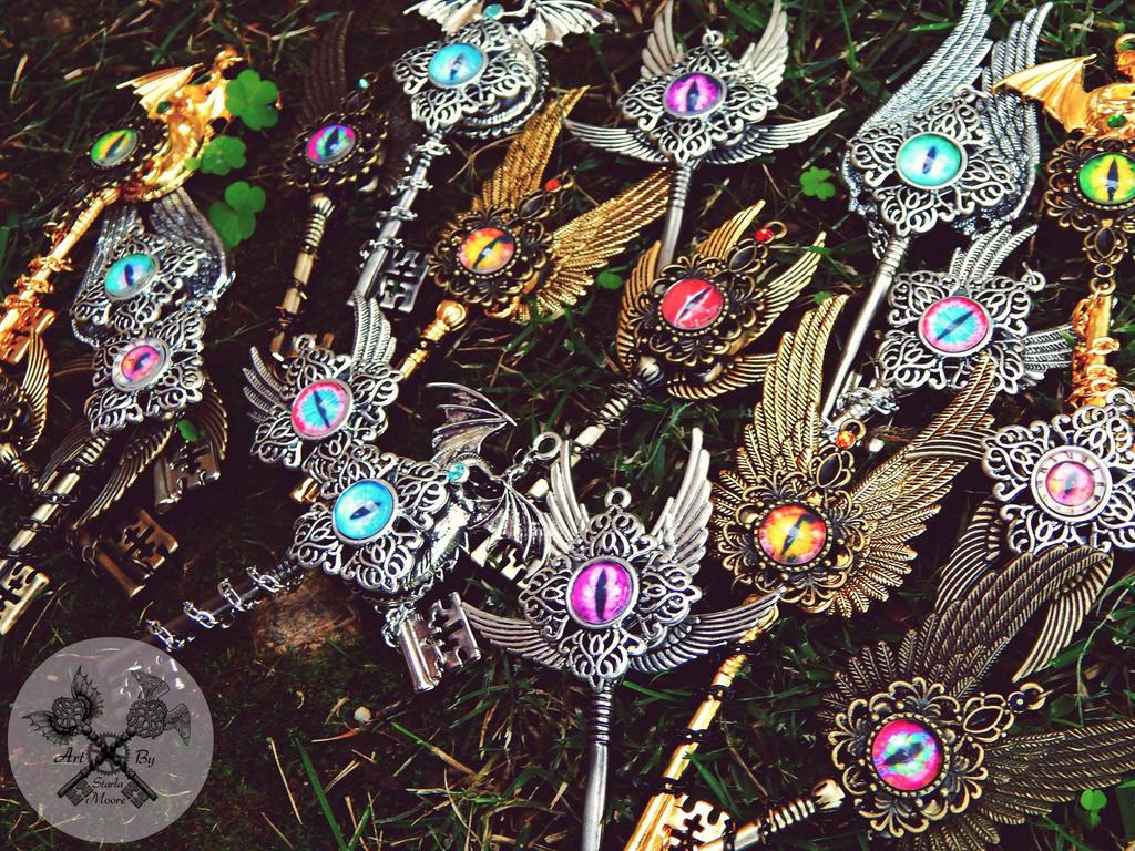 Dragon Eye Key Necklaces! by ArtByStarlaMoore