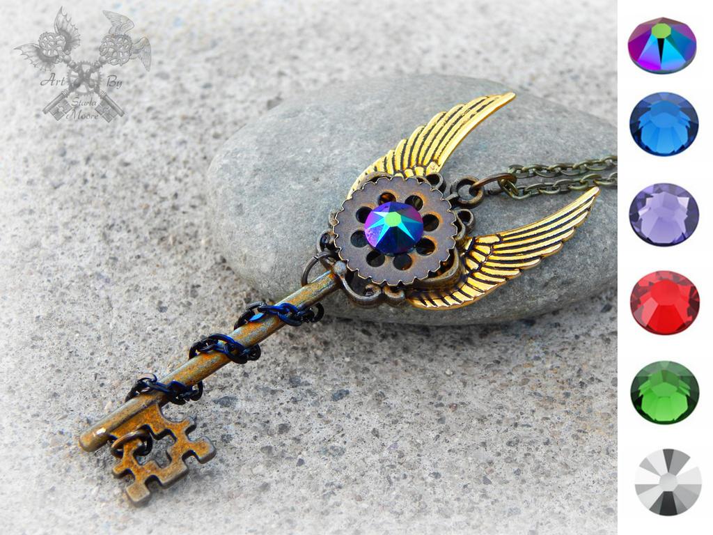 Custom Steampunk Skeleton Key Necklace by ArtByStarlaMoore