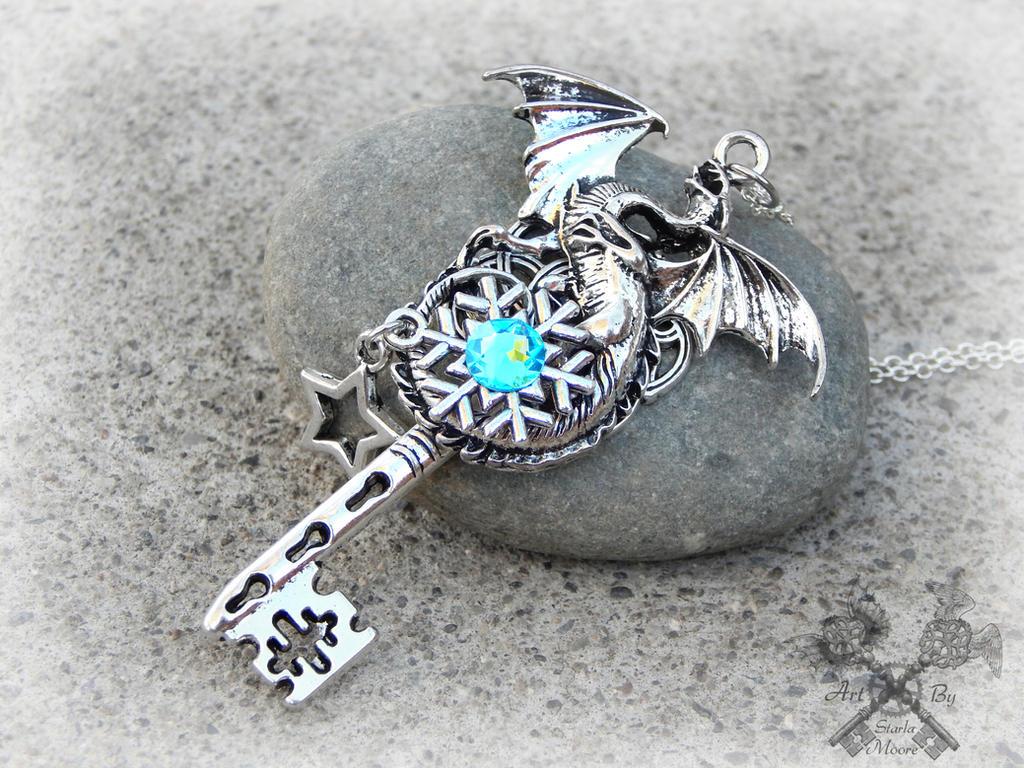 Silver Frost Dragon Necklace by ArtByStarlaMoore