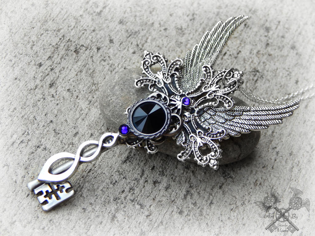 The Dark Crystal Queen Skeleton Key Necklace by ArtByStarlaMoore