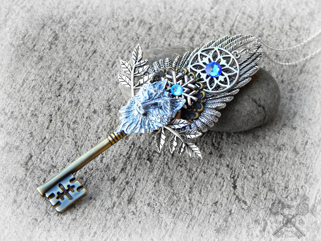 Aurora's Key- White Wolf Necklace by ArtByStarlaMoore