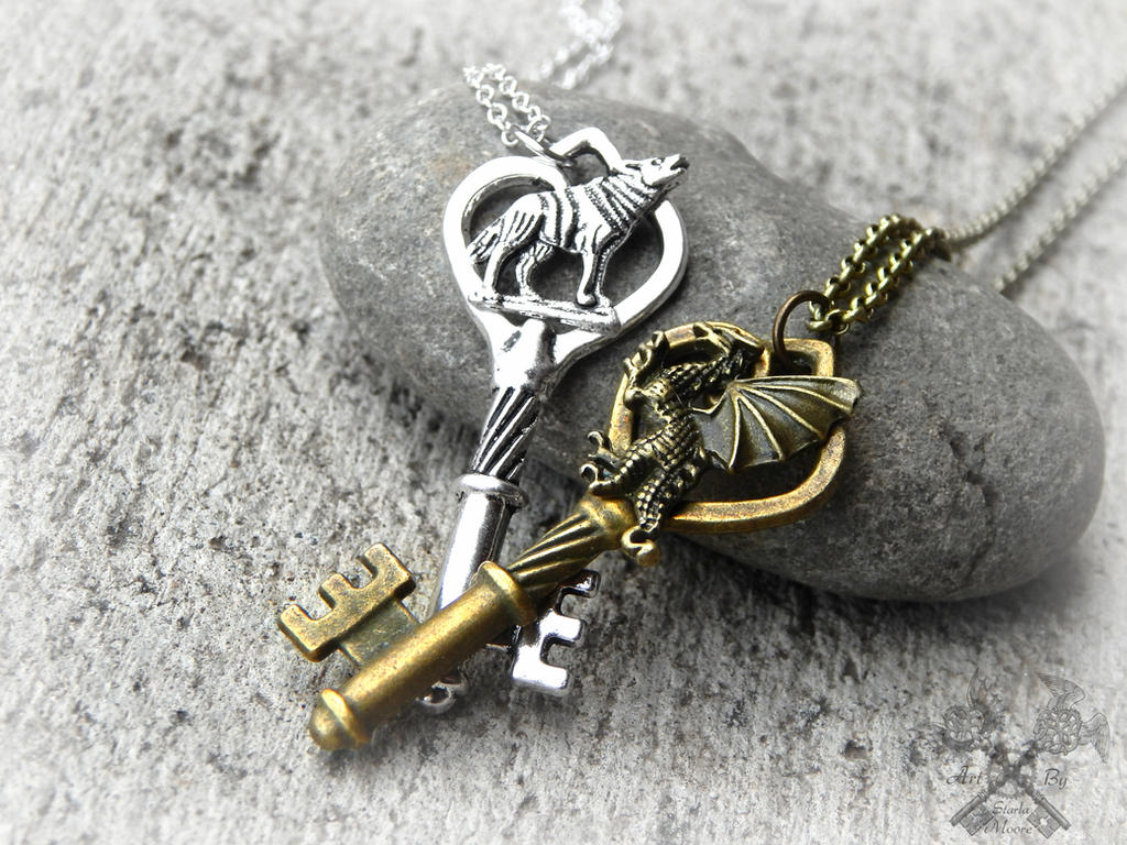 Wolf and Dragon Key to my Heart Necklace Set by ArtByStarlaMoore