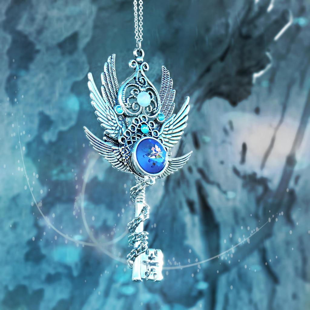 Crystal Glacier Skeleton Key Necklace