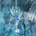 Crystal Glacier Skeleton Key Necklace